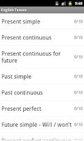 Screenshot of English Tenses