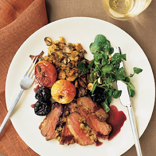 Roasted Duck Breasts with Wild Mushroom Stuffing and Red-Wine Sauce.