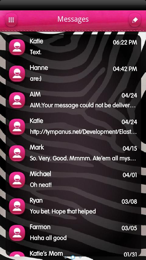 B&W Zebra PINK GO SMS Theme - screenshot