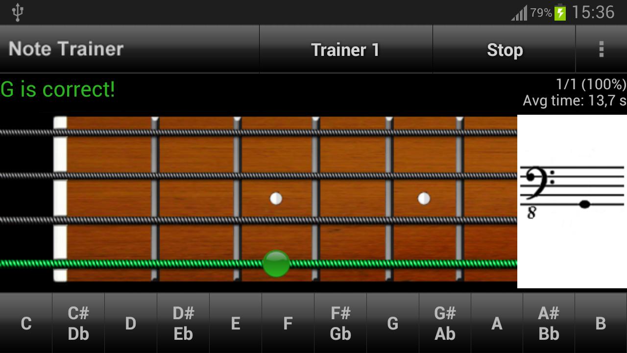 Bass Guitar Note Trainer Demo - screenshot