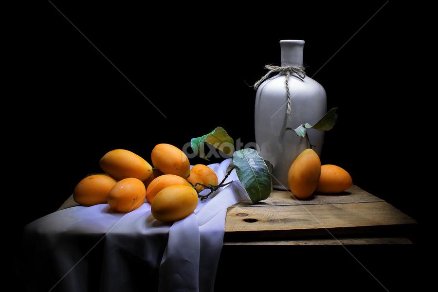 Kundangs by Suehana SuZie - Artistic Objects Still Life ( orange, light painting, still life, art, fruits, fine art, dark background,  )