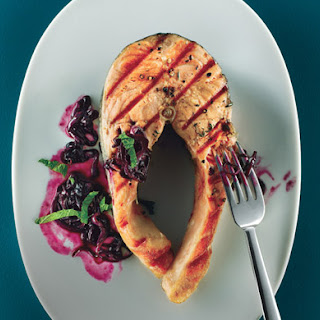 Grilled Salmon with Quick Blueberry Pan Sauce.