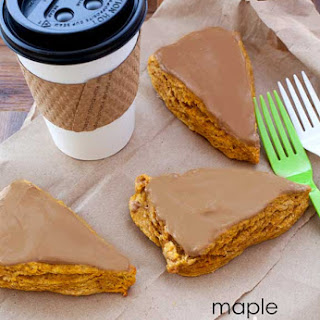 Maple Cream Cheese Glazed Pumpkin Scones