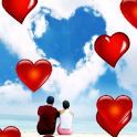 Hearts falling LWP icon