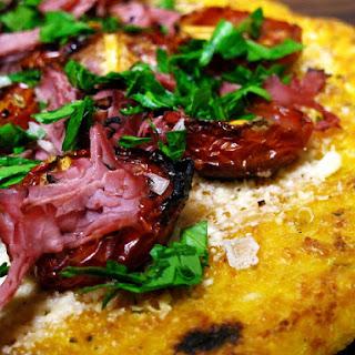 """Oven Roasted Tomatoes on Polenta """"Flatbread"""""""