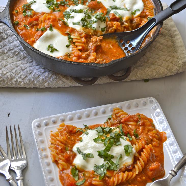 Three Cheese Pasta with Italian Sausage Recipe