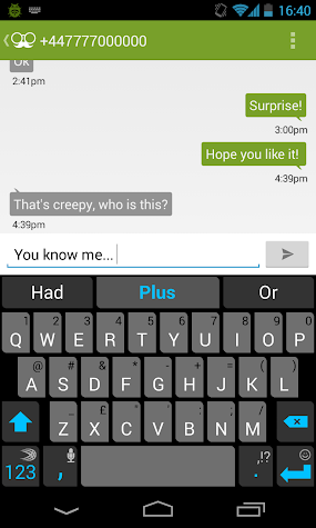 Anonymous Texting Screenshot