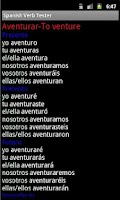Screenshot of Spanish Verb Tester