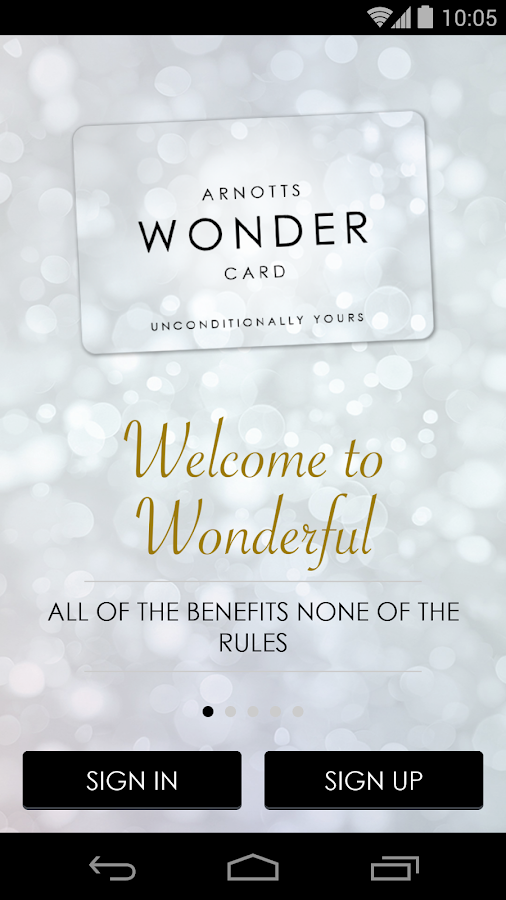 Arnotts Wonder Card- screenshot
