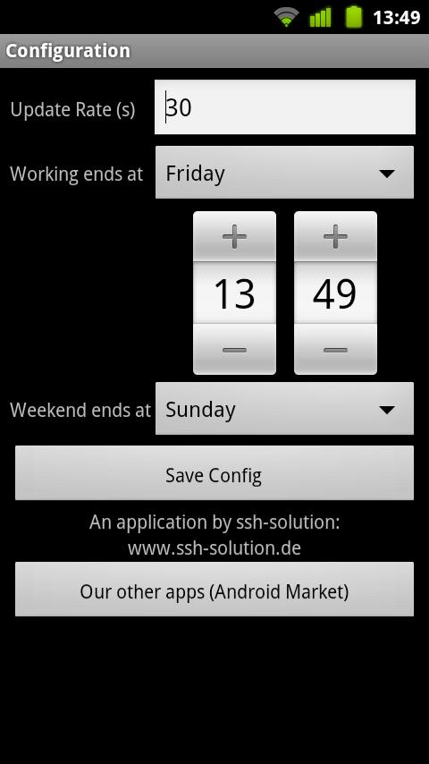 WeekendCounter Widget- screenshot