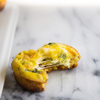 Swiss Cheese Quiche Muffins with Cornbread Bottoms.