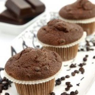 Healthy Double Chocolate Walnut Muffins.