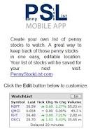 Screenshot of Penny Stocks List and Tools