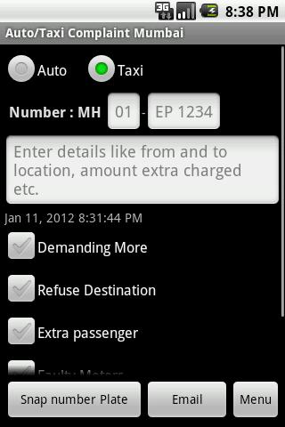 Auto/Taxi Complaint Mumbai - screenshot