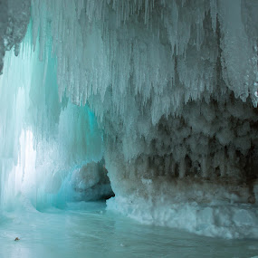 Blue Cave by Jill Laudenslager - Nature Up Close Water ( michigan, winter, blue, ice, frozen, island )