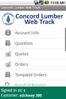 Screenshot of Concord Lumber Web Track
