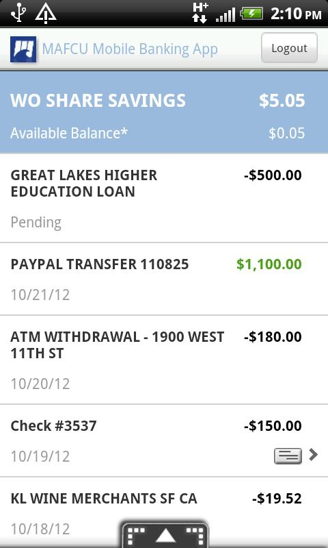 MAFCU Mobile Banking App - screenshot
