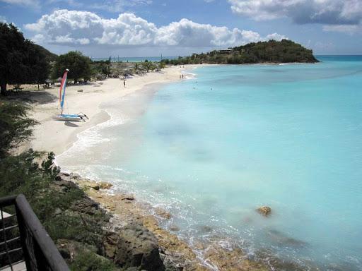 A pretty beach on the island of Antigua in the Caribbean.