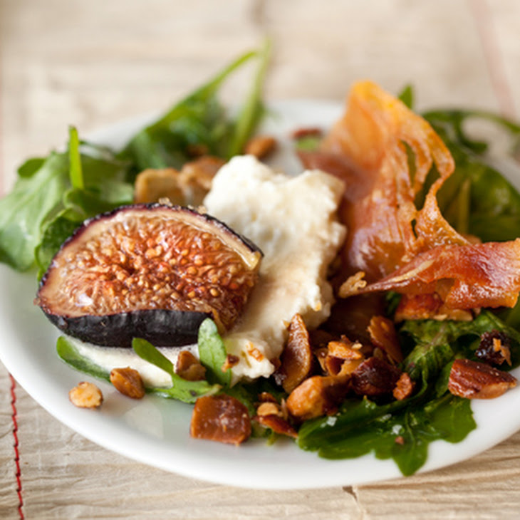 Arugula with BrûLéEd Figs, Ricotta, Prosciutto, and Smoked Marzipan Recipe