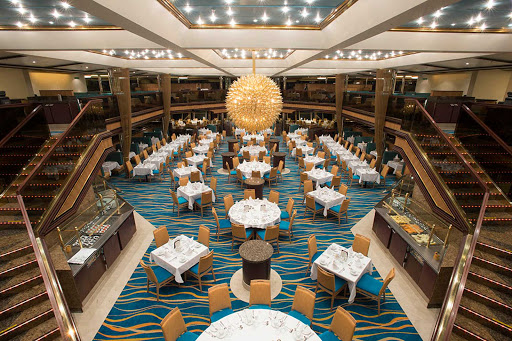 Carnival-Sunshine-Sunrise-restaurant - The double-deck Sunrise at the aft is one of two main dining rooms on Carnival Sunshine.