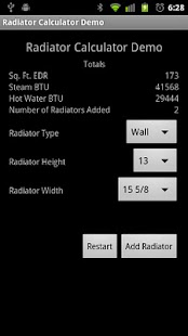 Radiator Calculator Demo - screenshot thumbnail