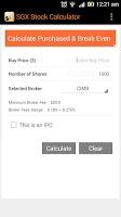 Screenshot of SGX Stocks Calculator