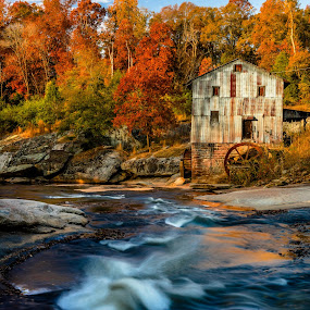 Tyger River Grist Mill by Tom Moors - Buildings & Architecture Public & Historical ( mill, anderson mill, building, spartanburg, foliage, grist mill, fall, tyger river, rapids, historic, south carolina, river )