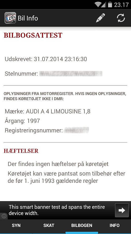 Bil Info nummerplade- screenshot