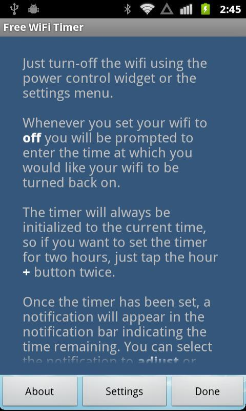 Free WiFi Timer - screenshot
