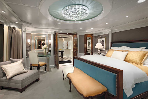 Sail in grand style: A look at the bedroom and its stylish light fixture inside the Owners Suite of Oceania Marina.