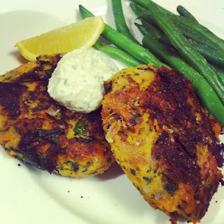 Gluten Free Sweet Potato and Tuna Patties with Remoulade.