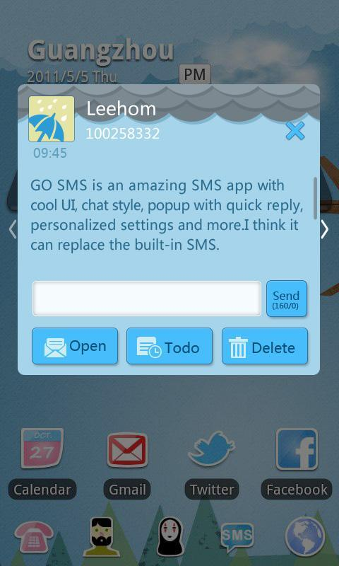 GO SMS Pro Rainy day Theme - screenshot