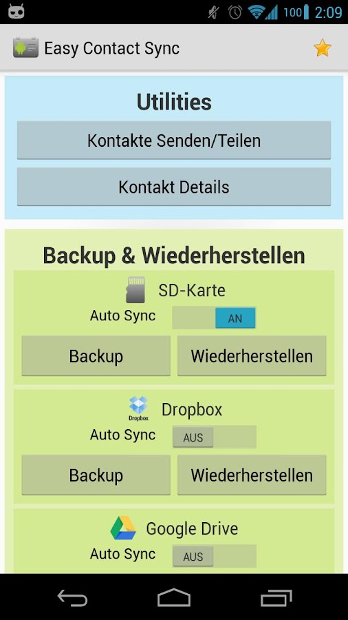 Easy Contact Sync (Backup) - screenshot