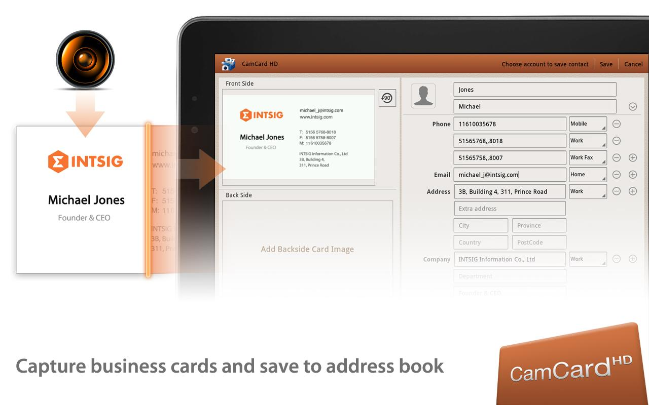 CamCard HD Free-BizCard Reader - screenshot