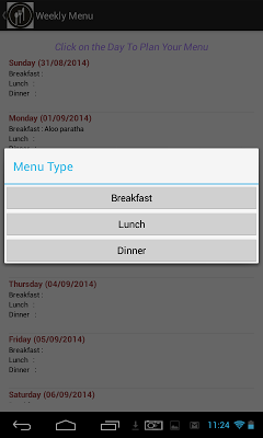 Menu Planner - screenshot