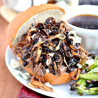 Crock Pot Balsamic Beef Sandwiches with Blue Cheese, Crispy Shallots and Easy Au Jus.