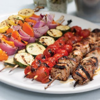 Grilled Vegetable and Pork Kabobs