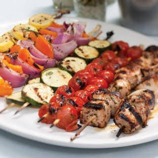 Grilled Vegetable and Pork Kabobs.