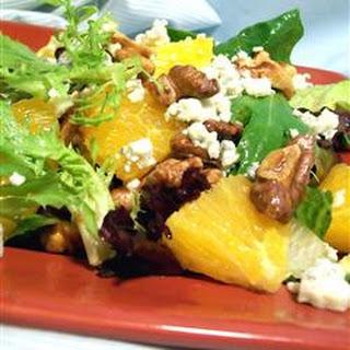 Orange, Walnut, Gorgonzola and Mixed Greens Salad with Fresh Citrus Vinaigrette.