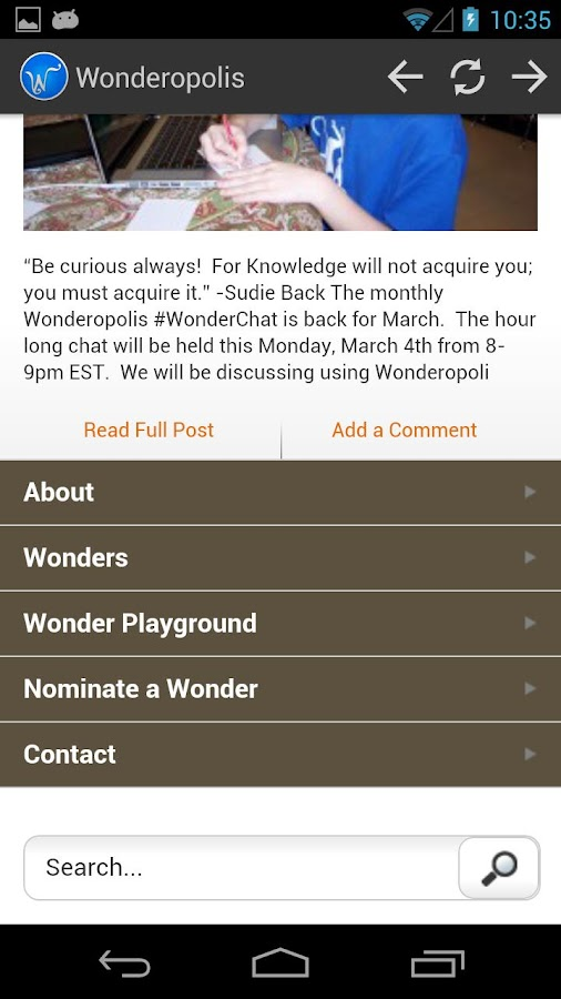 Wonderopolis- screenshot