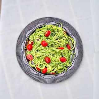 Zucchini Pasta with Avocado Pesto.