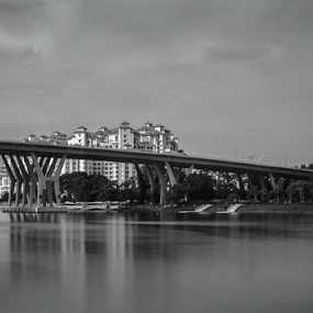 River  by Jane Helle - Black & White Landscapes ( waterscape, black & white, bridge, landscape )