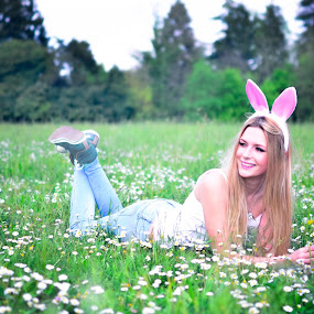 easter girl by Alex Parlog - People Fashion ( easter, woman, green, easter girl, pink )