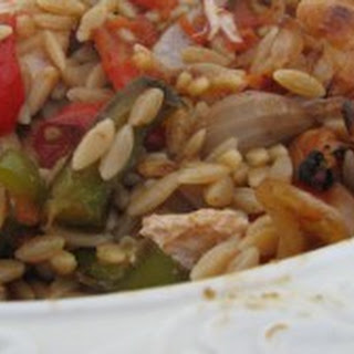 Whole Wheat Orzo with Grilled Chicken and Roasted Veggies