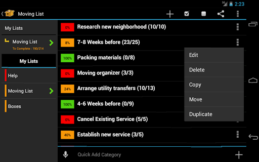 Screenshot for Moving Planner in United States Play Store