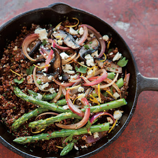 Red Quinoa with Asparagus, Portobellos & Feta