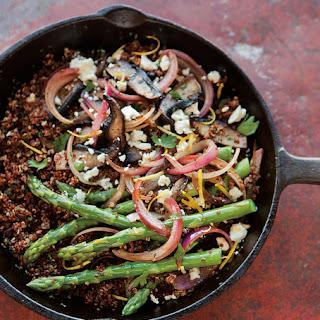 Red Quinoa with Asparagus, Portobellos & Feta