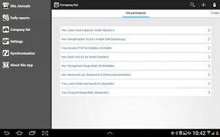 Screenshot of Bautagebuch Site Journal App