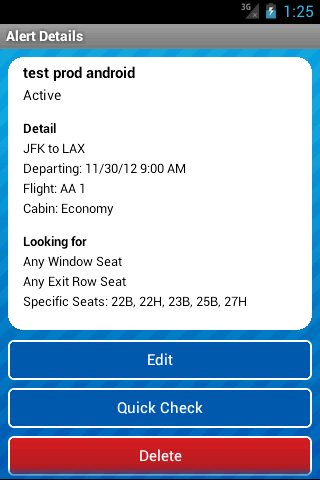 Seat Alerts by ExpertFlyer- screenshot