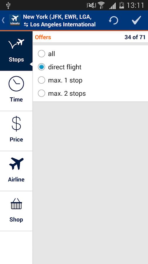 idealo Flight Comparison - screenshot